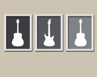 Gray GUITAR Wall Art, Music Theme Nursery Boy Bedroom Pictures, CANVAS or Prints…