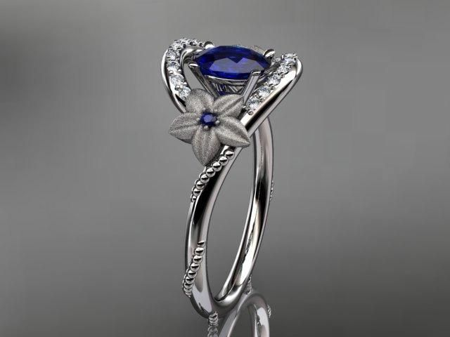 white gold unique floral dimond and saphire ring - Google Search