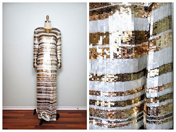 Vintage Fully Sequined Wedding Dress / White and Gold Beaded Sequin Gown / Heavily Embellished Wedding Gown