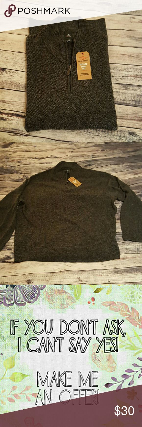 Dockers Men's sweater, size XXL NWT Dockers Men's sweater, size XXL NWT.  This is an easy case, super soft touch and feel.   All my stuff comes from a smoke free and pet free home.  I encourage you to bundle to save on shipping, so check out my closet for other deals! Dockers Sweaters Crewneck