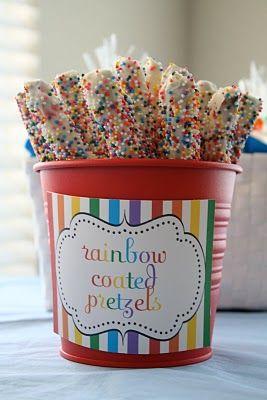 Rainbow pretzels.: Rainbows, Rainbow Party, Covered Pretzel, Party Ideas, Rainbow Parties, Birthday Party, Birthday Ideas, Rainbow Pretzels