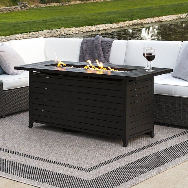 7 Emerging Trends In Patio Furniture Zing Blog By Quicken Loans Rectangular Gas Fire Pit Fire Pit Table Rectangular Fire Pit