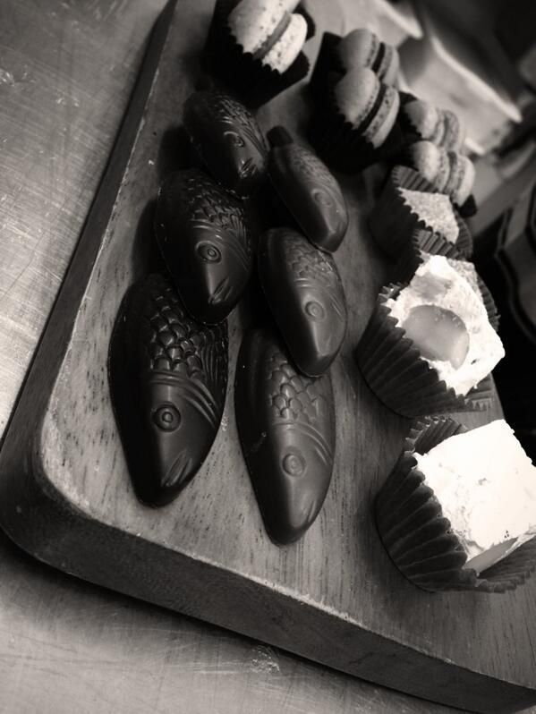 Some of our lovely chocolate fish and macaroons..
