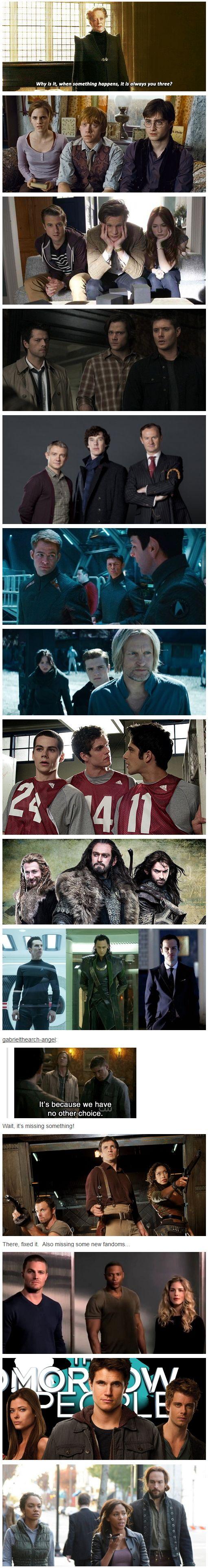 "The ""Power of Three"" Fandoms on Tumblr [gifset] - Harry Potter, Doctor Who, Supernatural, Sherlock, Star Trek, Hunger Games, Teen Wolf, Hobbit, Villians {Khan, Loki, Moriarty), Firefly, Arrow, The Tomorrow People, Sleepy Hollow."