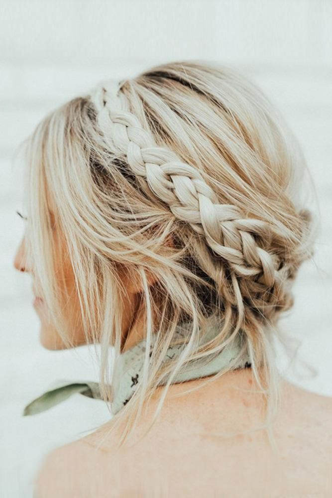Bohemian Wedding Hairstyles Messy Blonde Thin Hair Updo With Braided Crown Hairandmakeupbysteph Short Hair Updo Braided Crown Hairstyles Braids For Short Hair