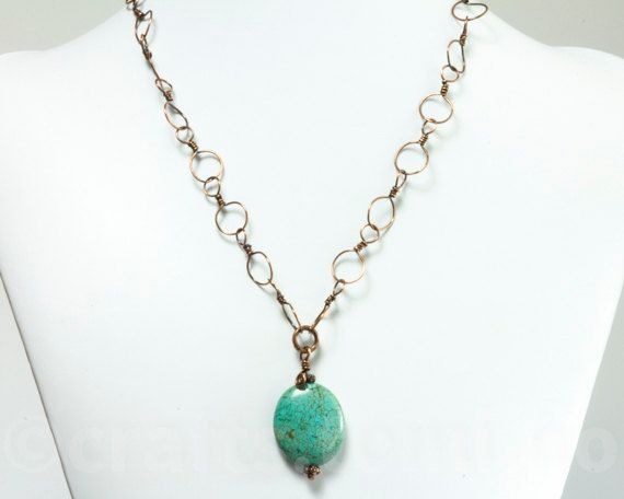 Copper chain necklace,turqoise necklace turquoise,turquoise pendant turqoise, every day necklace, copper necklace chain, gift for her