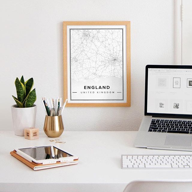 Office Desk Styling With A Black And White Map Print From Mapiful