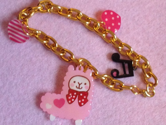 Kawaii Pink Alpaca Bracelet by zefora on Etsy, $12.00