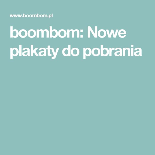 boombom: Nowe plakaty do pobrania