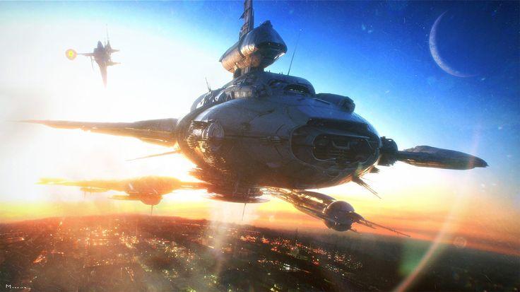 concept ships: John Berkey tribute art by Steven Messing