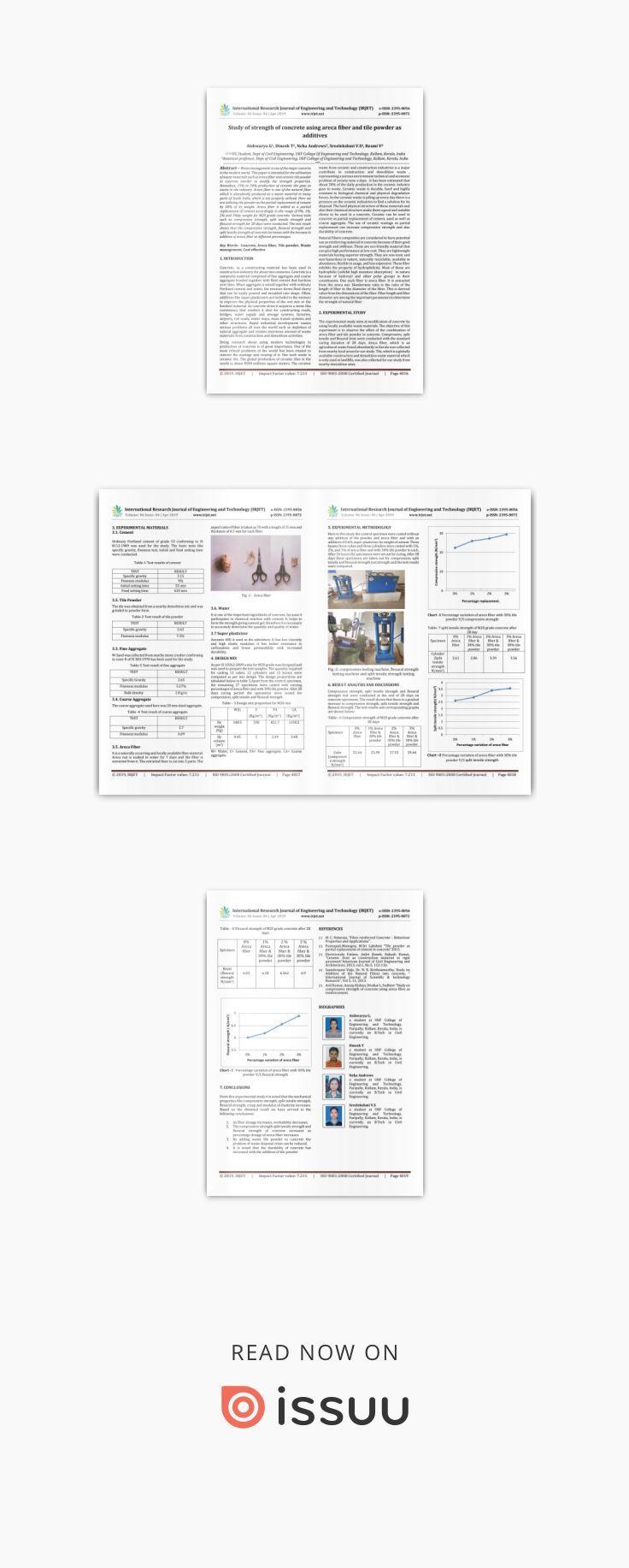 IRJET- Study of Strength of Concrete using Areca Fiber and