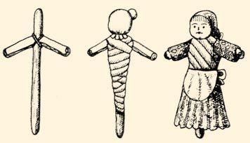 Rongybábu készítése: a bábu váza, testének kialakítása, törzse felcsavart rongy, feje fehér rongy: a felöltöztetett rongybábu. Arca festett (Domahida, v. Szatmár m.)