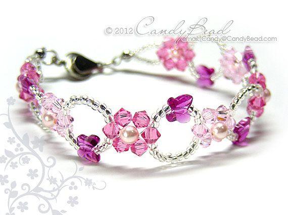 Swarovski bracelet Rosy Pink Flower Butterfly Crystal by candybead