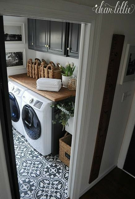 Upstairs Laundry Room With A Folding Shelf Over Washer Dryer And Add Utility Sink To The Right Refill Cat Water Bowlop Buckets For Bathrooms