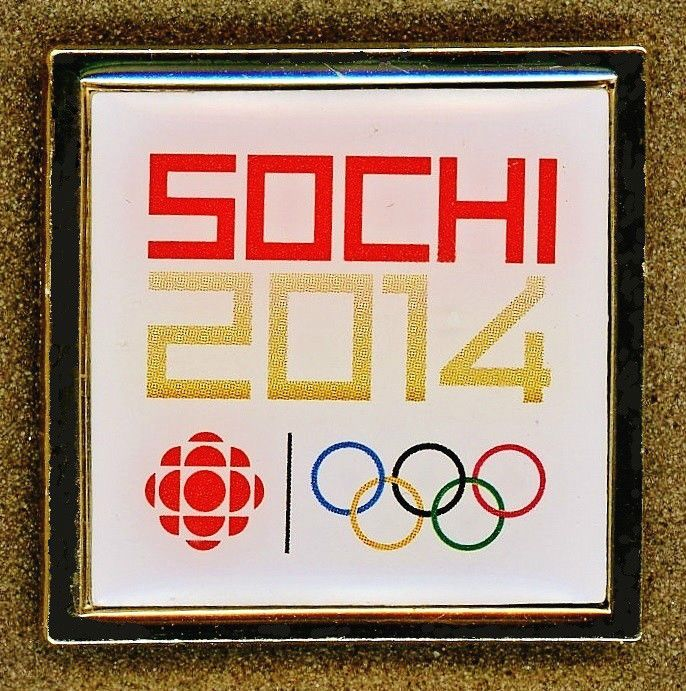 """RARE """"FIRST"""" Official 2014 Sochi RUSSIA Olympic CANADA CBC MEDIA PIN BADGE!"""