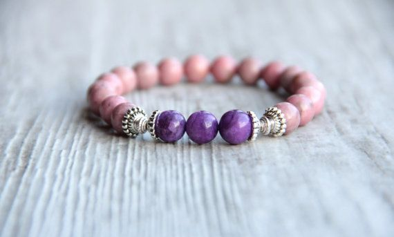 Pink bracelet Rhodonite beads Gift for wife by AllAboutHandmade1