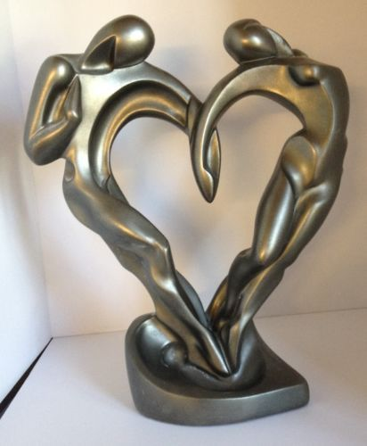 Abstract Silvered Two Lovers One Heart Couple Statue