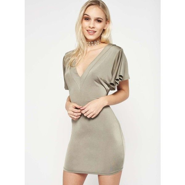 Miss Selfridge PETITE Twist Back Bodycon Dress ($29) ❤ liked on Polyvore featuring dresses, olive, petite, bodycon cocktail dress, olive green dress, petite cocktail dress, body conscious dress and army green dress