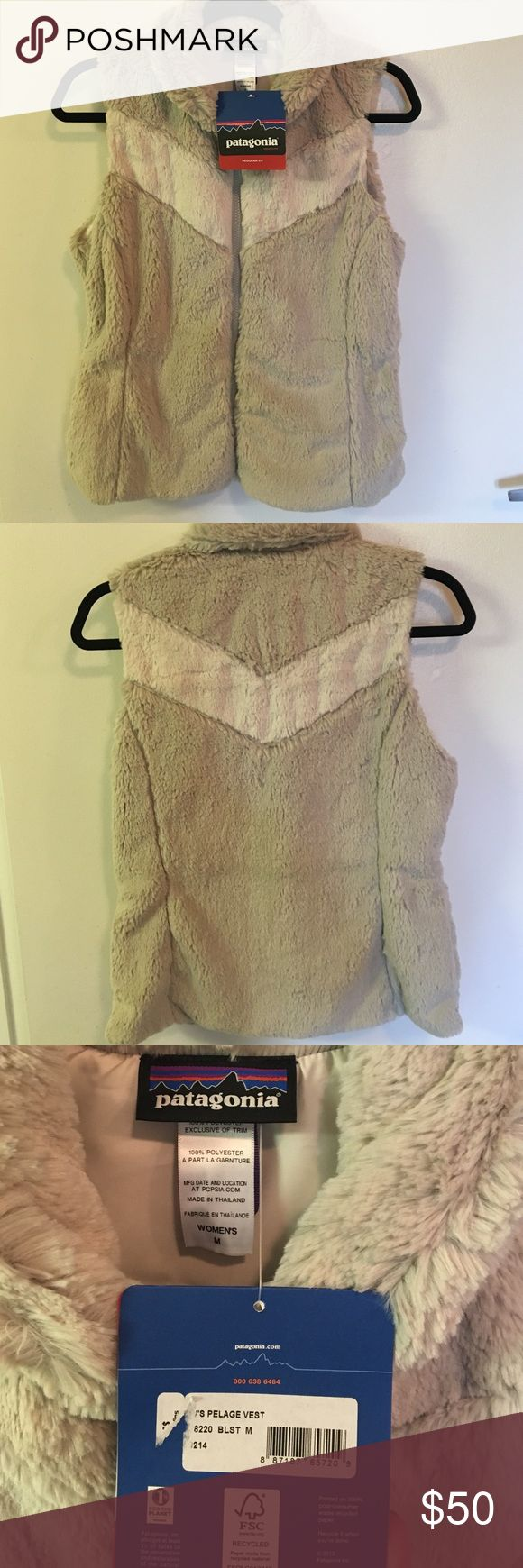 NEW Patagonia Pelage Furry Vest- Size Medium NEW WITH TAGS Patagonia Pelage cream furry vest, size medium. 100% polyester material, but is incredibly soft and comfortable. Has never been worn- I got it as a gift. Does not have pockets. Patagonia Jackets & Coats Vests