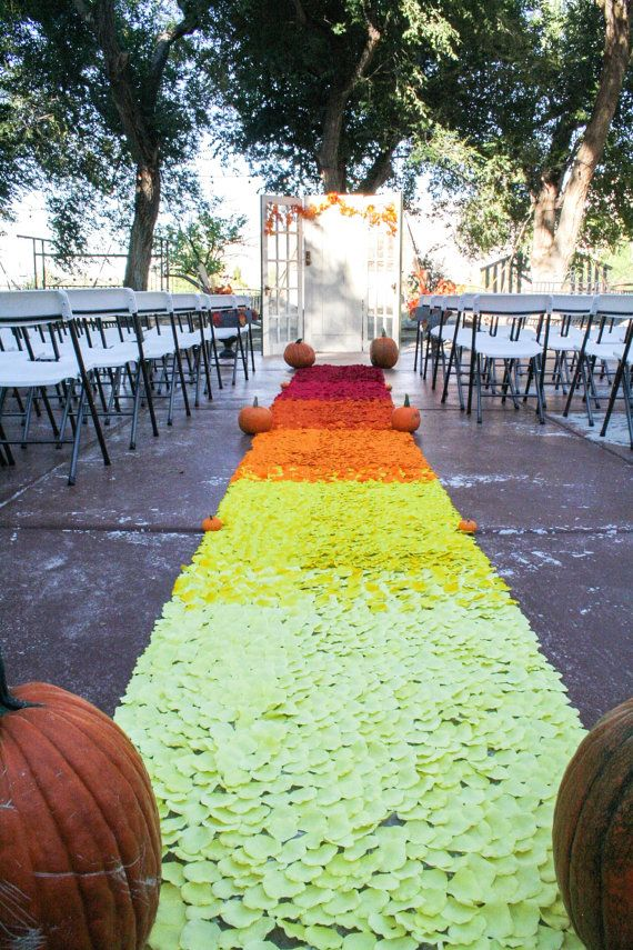 Rustic Wedding Aisle Runner Red Orange Yellow Rose Petal