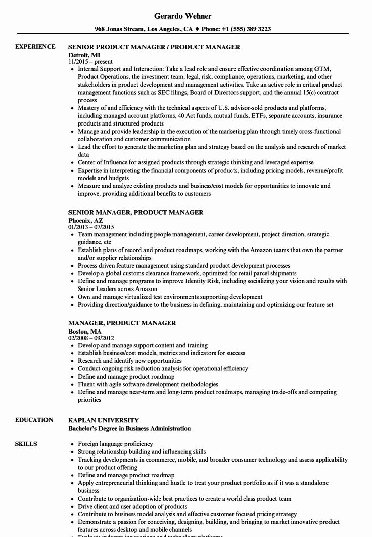 Product Manager Resume Examples Elegant Manager Product