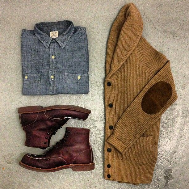 Style icon casual timeless unisex outfit. elbow patch jacket, jean top, brown boots