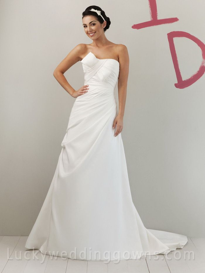 Unusual A-line Ivory Taffeta Strapless Summer Wedding Dress with Asymmetrical Draped