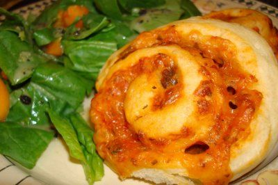 Pizza Swirl Buns - We usually double this recipe & keep the extras in the freezer.  Makes for a quick lunch on the go.