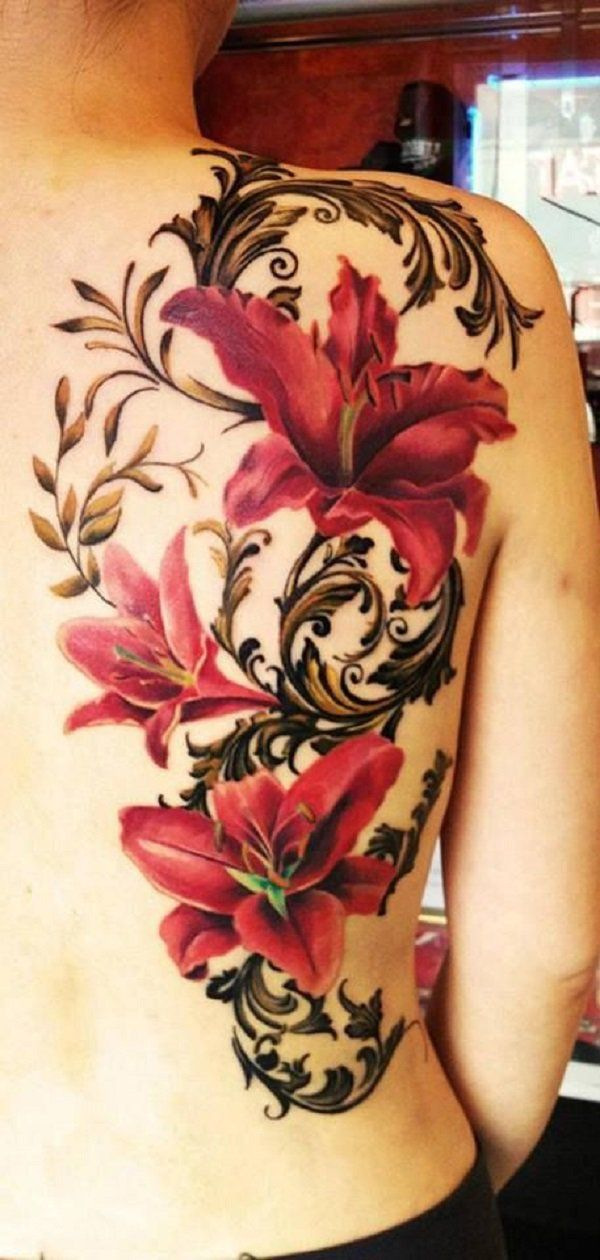 Red lily tattoo on back - 55+ Awesome Lily Tattoo Designs  <3 <3