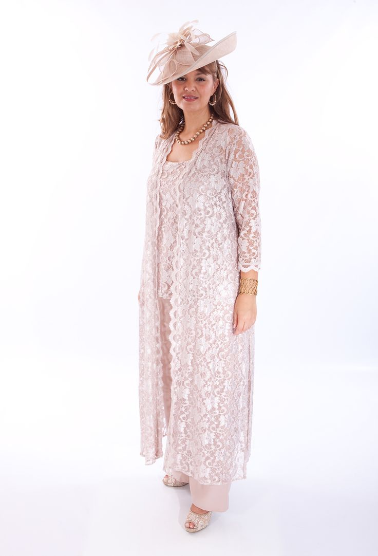 A gorgeous lace trousers suit by Penguin for a plus size mother of the bride, mother of the groom or wedding guest. The pale pink is perfect for a woman wanting to look and feel feminine. Frox of Falkirk, fashion.