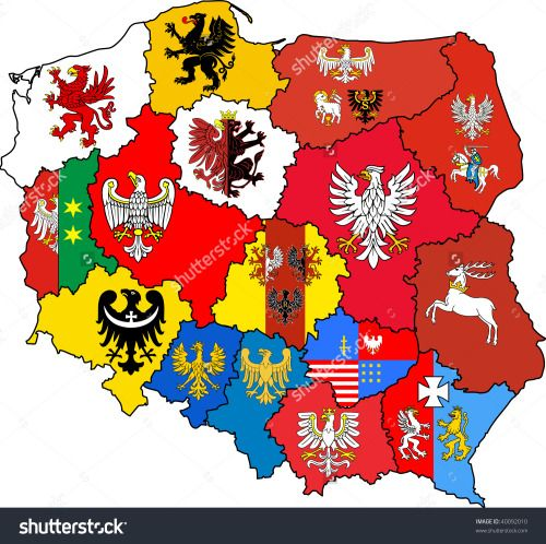 Voivodeships of Poland with their coat of arms.Map by michal812. Check his shutterstock page for more maps >>