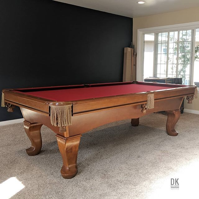 Finished Installing This 8 Foot Cl Bailey Elayna Pool Table In Placentia Honey Maple Wood And Burgundy Felt Honey Fringe Pock Pool Table Maple Wood Play Pool