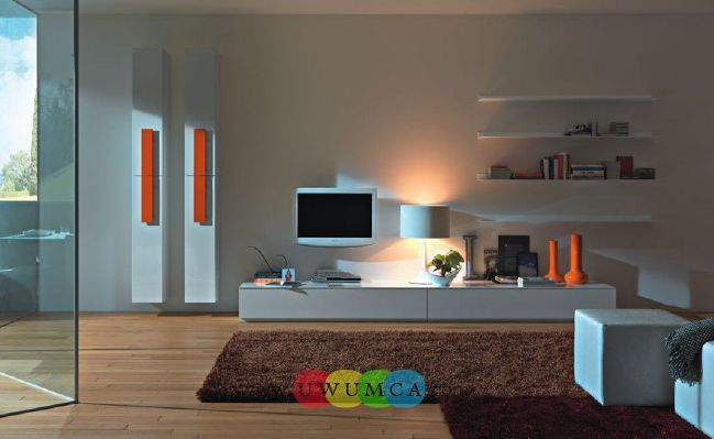 Living Room:Modern TV Wall Units 05 In White Color With Orange Accents Decorating Brazilian Living Room And Lighting With Sofa Furniture Coffe Table Chairs Rug Luxury Living Room Decor of an Art Collector by Gisele Taranto
