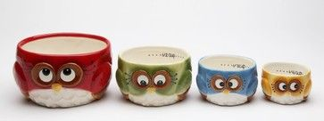 4 Pc Set of Colorful and Festive Christmas Owl's Measuring Cups eclectic-serving-utensils
