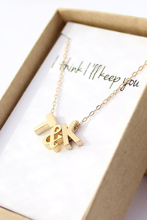 """""""I think I'll keep you"""" tiny gold initial necklace with ampersand. You can choose any note you want in the box. Perfect personalized christmas gift."""
