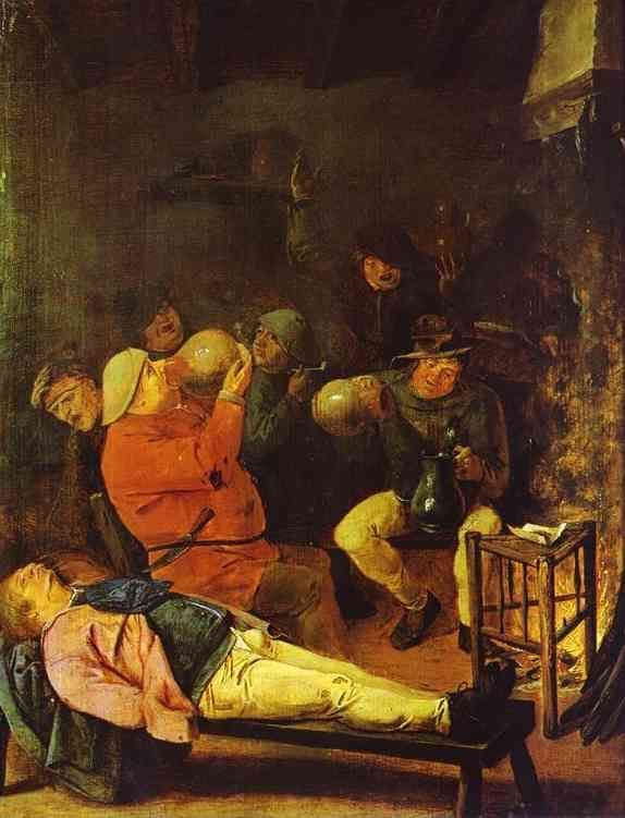 'Scene at the Inn' by Adriaen Brouwer. Brouwer (1605-1638) was a Flemish genre painter active in Flanders and the Dutch Republic in the seventeenth century. He became a student of Frans Hals at Haarlem. His works are typically detailed and small, and often adopt themes of debauchery, drunkenness and foolishness in order to explore human emotions, expressions and responses to pain, fear and the senses. Both Rubens and Rembrandt owned a number of his works.