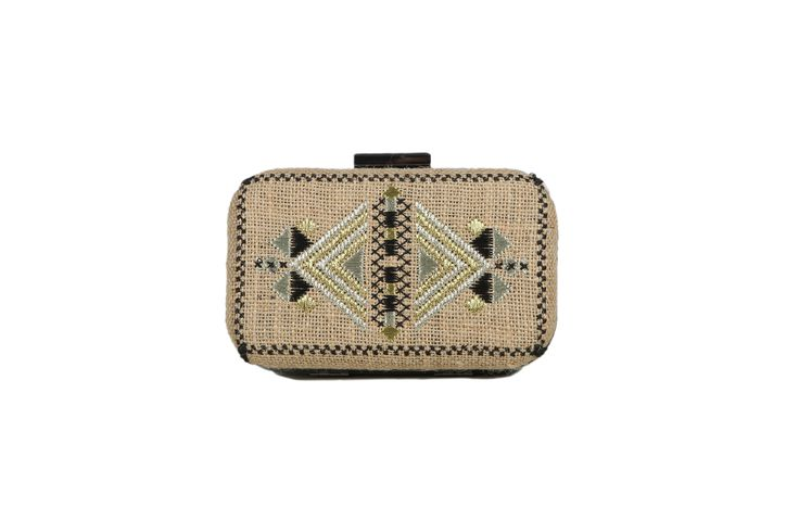 Burlap embroidered clutch from the @itsallgreekonme S/S2017 collection