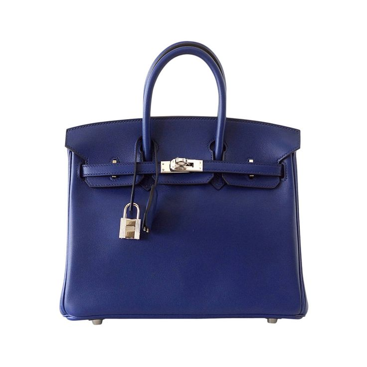 HERMES BIRKIN 25 exotic Bleu Saphir (Blue Sapphire) Swift palladium | From a collection of rare vintage top handle bags at https://www.1stdibs.com/fashion/handbags-purses-bags/top-handle-bags/