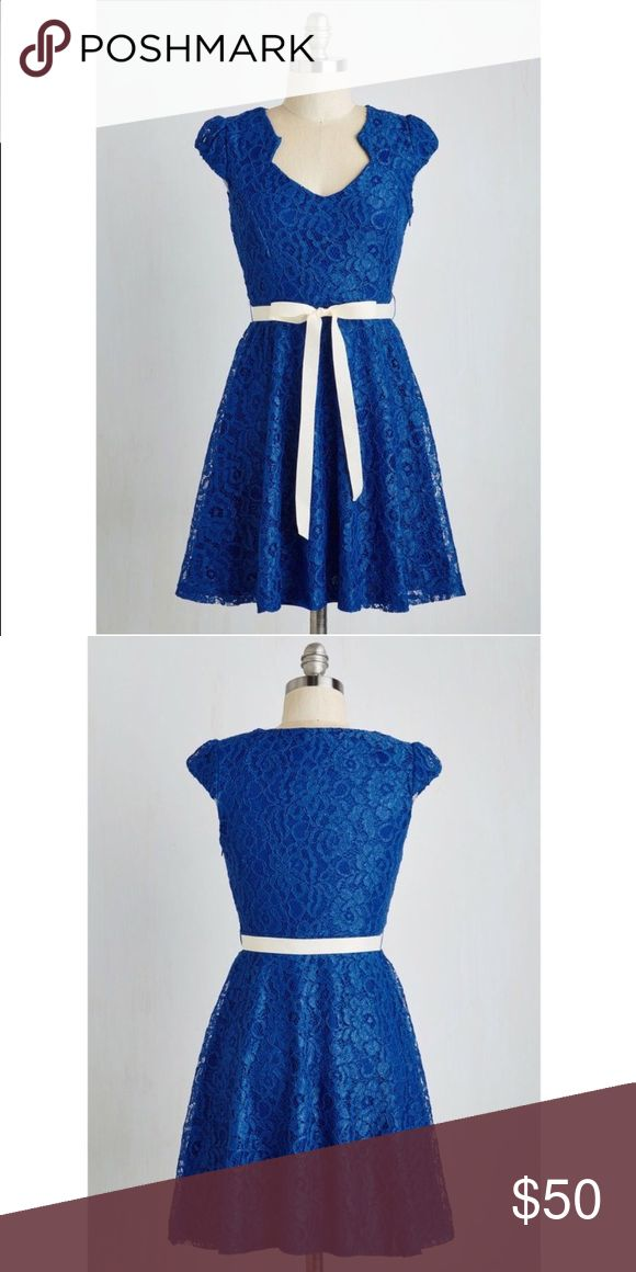 Blue sweet staple dress Super sparkly blue lace dress brand new has only been tried on. It's super flattering and makes you feel like a fancy fairy☄✨❄️ ModCloth Dresses