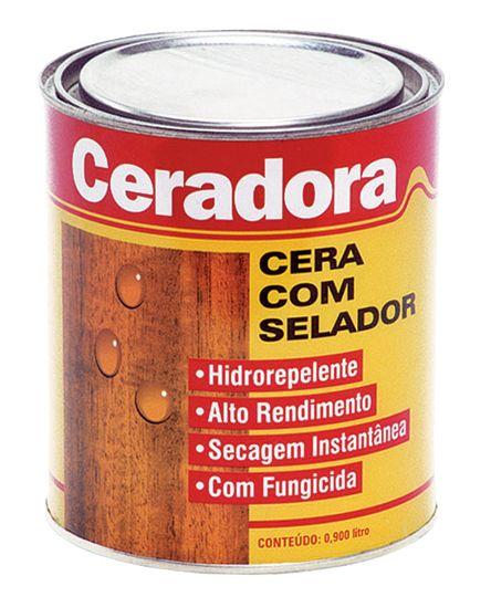 Ceradora  A única cera no mercado brasileiro na versão 2 x 1, isto é cera e seladora em um só produto. Excelente impermeabilização com baixo custo. Indicada para aplicação em portas, pisos de madeira e móveis em geral. Modo de uso: acabamento uma demão semi-brilho e 2 demãos para um acabamento brilhante. Cores: imbuia, cerejeira, marfim, mogno, sucupira, jacarandá, castanho, castanho escuro, verde, amarela, vermelha e laranja. *Protudo de secagem instantânea. Embalagens: 1/4 gl, 3,6 l ,18 l