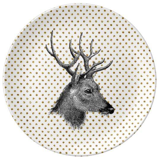 Schitteren de Gouden Stippen van vintage Herten de Porseleinen Bordjes