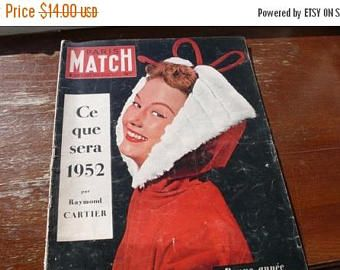 SALE 15% OFF 1952 French Journal, 50s mid century pictures, Retro decor, Vintage decor, french vintage, vintage gifts