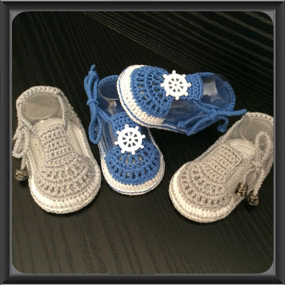 Baby crochet shoes, Baby Boy Crochet Sandals in Blue or Gray, Crochet baby summer sandals, Crochet boys shoes, nautical decor.