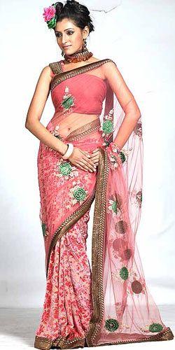 Sparkling Pink Net Saree to Bangalore, Karnataka Rs. 5945 / USD 99.08