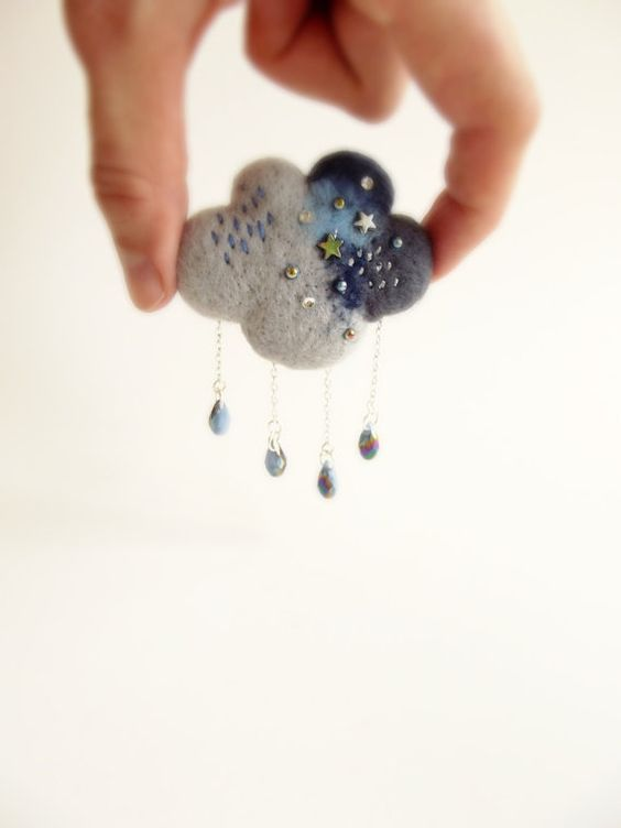 Hey, I found this really awesome Etsy listing at https://www.etsy.com/listing/194006387/rain-cloud-in-grey-and-blue-hand-felted: