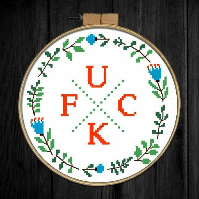 Modern subversive cross stitch pattern FUCK Floral, Xstitch