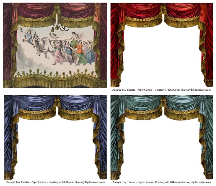 A vintage Toy Theater paper curtain and it's digitally altered versions in several color choices. Curtain altered by EKDuncan and available for download along with many others at http://eveyd.deviantart.com/gallery/33415981
