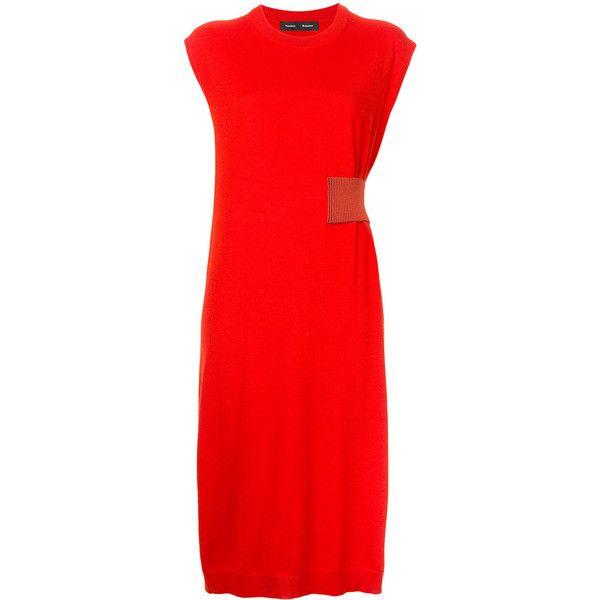 Proenza Schouler Sleeveless Midi Dress ($1,262) ❤ liked on Polyvore featuring dresses, mid calf dresses, red mid length dress, midi dress, mid length dresses and calf length dresses
