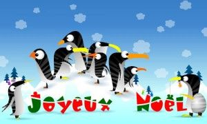 Carte de Noël - Christmas card - La famille Pingouin fête Noël