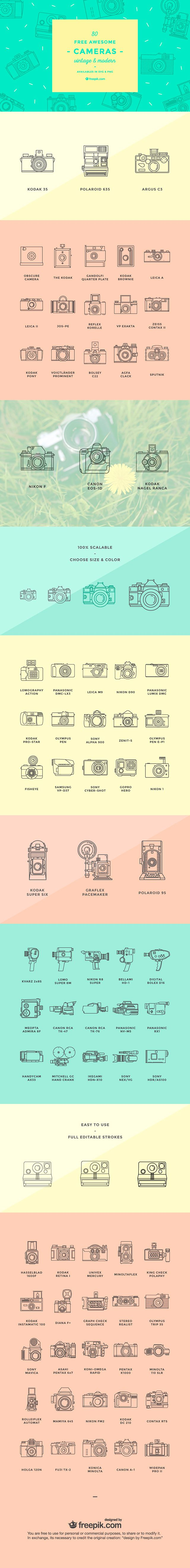 80 free awesome modern and vintage camera vector icons (1.3 MB) | creativenerds.co.uk